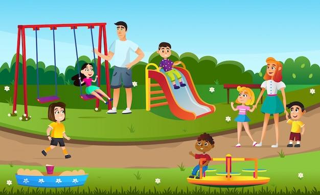 Karikatur-kinderspiel-schwingen-dia-sandkasten-spielplatz
