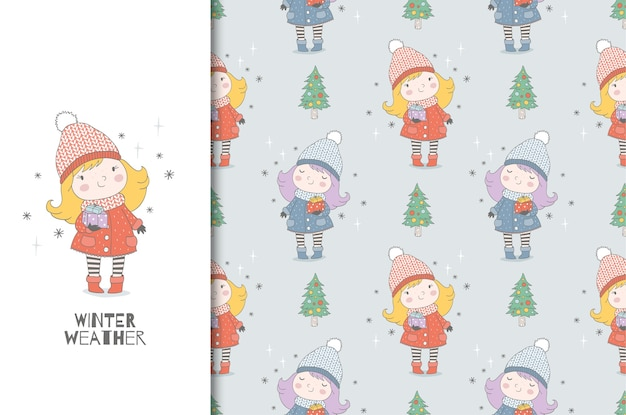 Karikatur kleines warm gekleidetes mädchen mit geschenken.