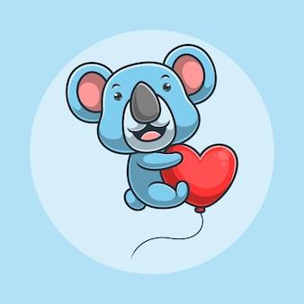 Karikatur-koala, der unter verwendung eines herzförmigen ballons fliegt