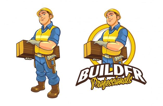Karikatur lächelnder freundlicher männlicher bauarbeiter, der holz-charakter-maskottchen-logo hält
