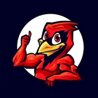 Karikatur lächelnder kardinal im kreis, der daumen aufstellt