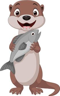 Karikatur lächelnder otter, der fisch hält