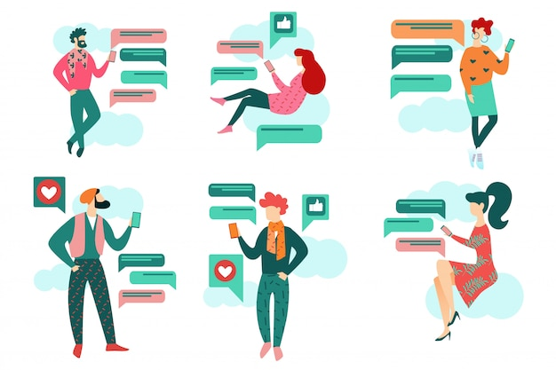 Karikatur-leute halten smartphone-social media-chat