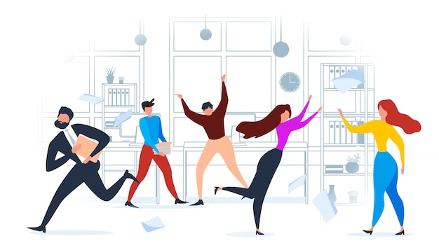 Karikatur-leute laufen in büro