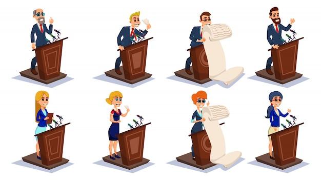 Karikatur-leute-öffentlichkeitssprecher auf tribünen-gesprächs-satz