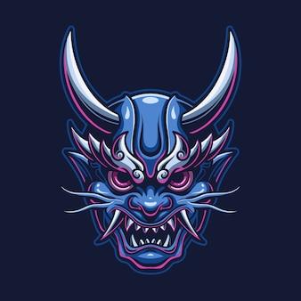 Karikatur-logo-schablonenillustration des dämonenteufelkopfes. esport logo gaming