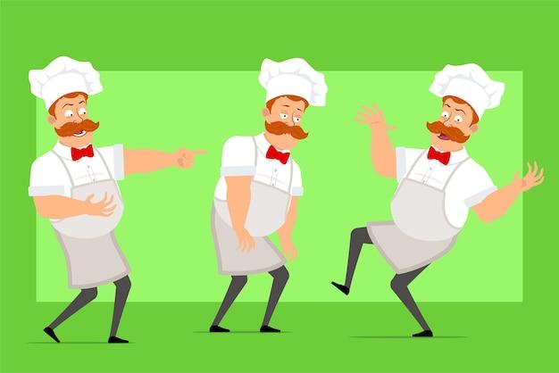 Karikatur lustiger kochkochmanncharakter in der weißen uniform und im bäckerhut