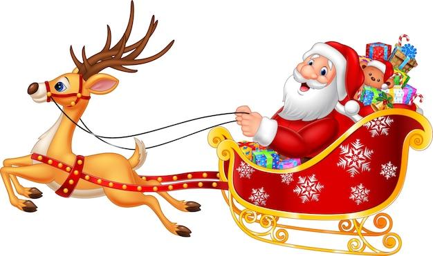 Karikatur lustiger sankt in seinem weihnachtsschlitten