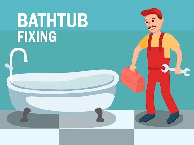 Karikatur-männlicher klempner mit schlüssel-werkzeug am badezimmer
