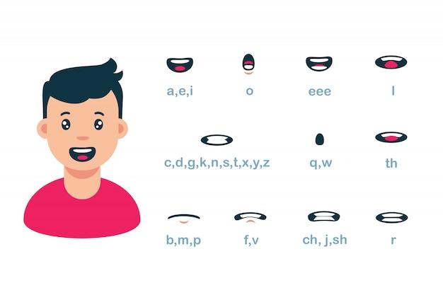 Karikatur männlicher mundlippensynchronisationssatz der sprachanimationsillustration