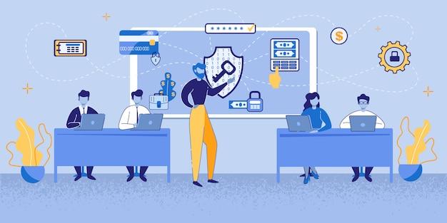 Karikatur-mann-anwesende internet-sicherheitstechnologie