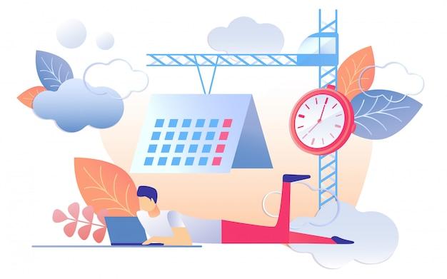 Karikatur-mann-arbeits-notizbuch-uhr-kalender auf kran