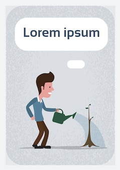 Karikatur-mann-bewässerungsbaum-retro- weinlese-art