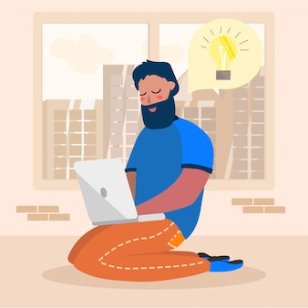 Karikatur-mann-charakter, der idee hat, arbeitet an laptop