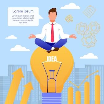 Karikatur-mann denken in meditierender haltung auf glühlampe