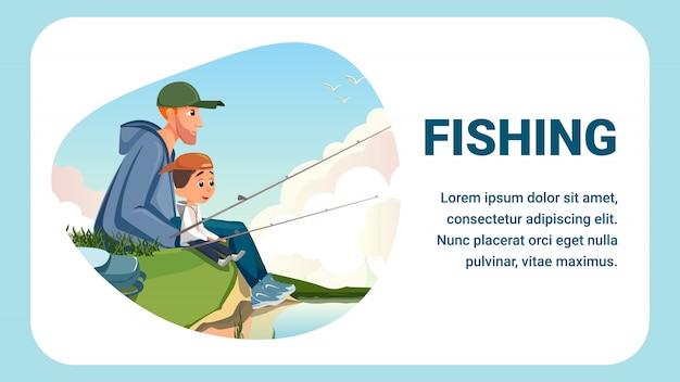 Karikatur-mann-junge sit river bank hold fishing rod