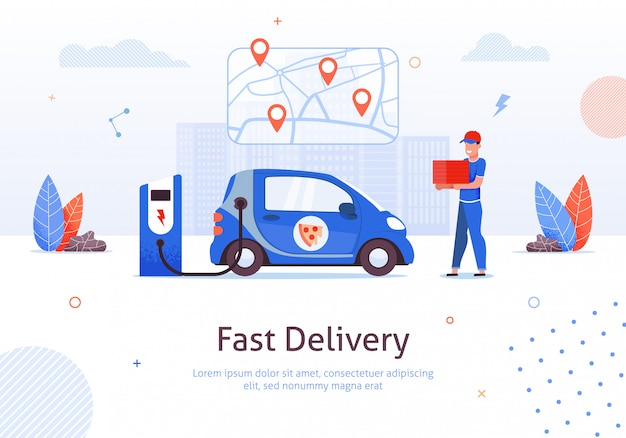 Karikatur-mann mit der pizza-kasten-elektroauto-aufladung