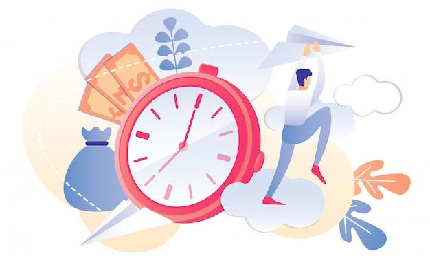 Karikatur-mann-papierflugzeug-rote borduhr-timer-geld-tasche