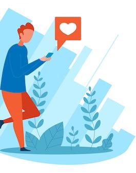 Karikatur-mann-social networking und geben mögen