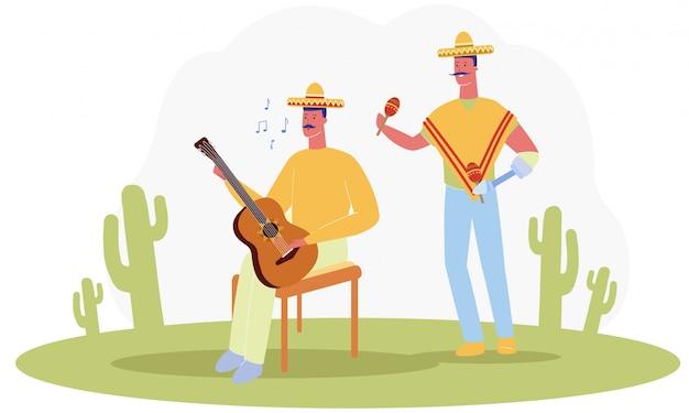 Karikatur-mann-traditionelle mexikanische kostüm-spiel-musik