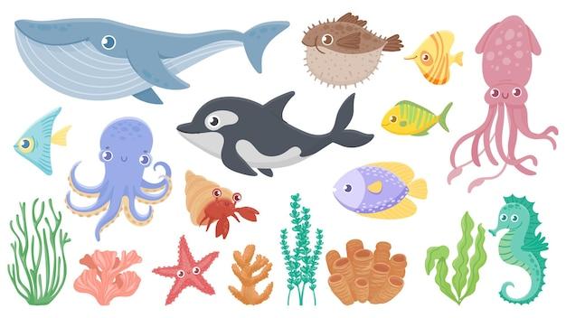 Karikatur-meerestiere. lustiger blauwal, niedlicher igelfisch und orca