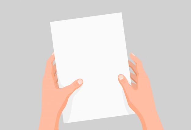 Karikatur menschliche hände halten klare papierblattschablonengrafikillustration