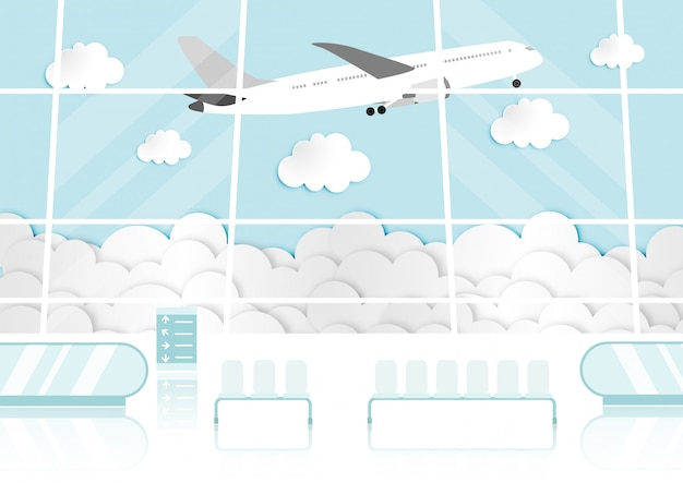 Karikatur mit passagierraum im flughafenterminal