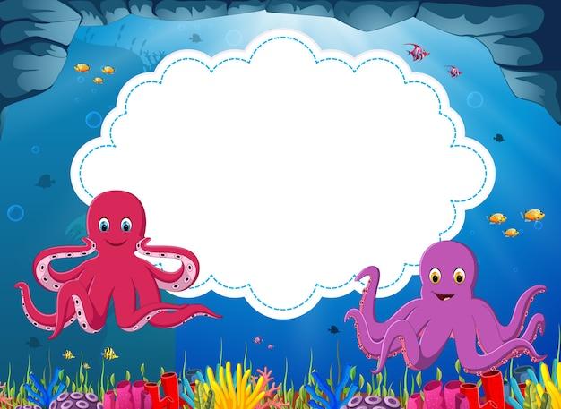 Karikatur mit zwei kraken mit leerem papier