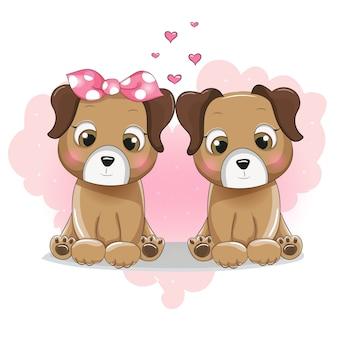Karikatur mit zwei niedlichen Welpen auf Hintergrundherzen