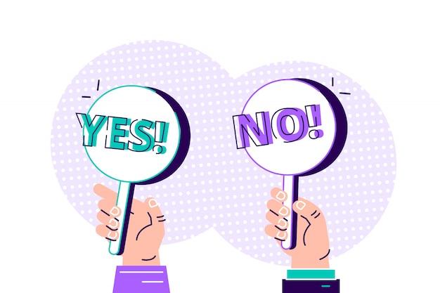 Karikatur modern von ja nein banner in der menschlichen hand auf weißem hintergrund. test-frage. wahl zögern, streit, opposition, wahl, dilemma, gegner. flaches stildesignillustrationskonzept.