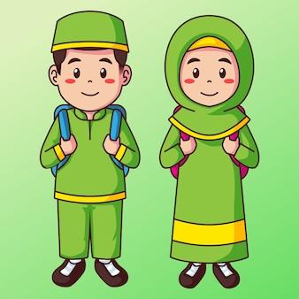Karikatur moslemischer schuljunge und mädchen in uniform