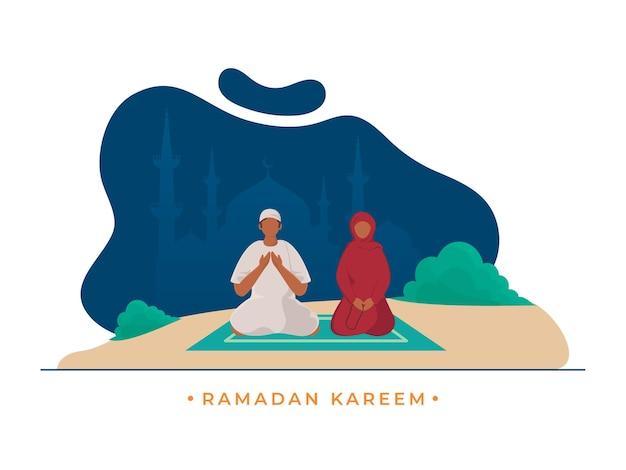 Karikatur-muslimisches paar, das gebet auf abstrakter silhouette tut