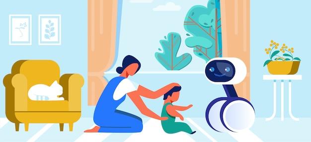Karikatur-mutter und kleines baby, die mit roboter spielen
