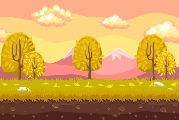 Karikatur nahtloser landschaftshintergrund. horizontaler hintergrund für spiele