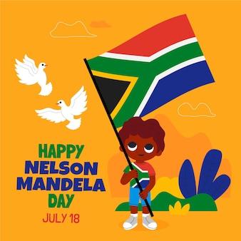 Karikatur nelson mandela international day illustration
