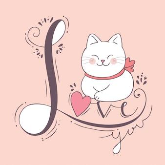 Karikatur nette valentinsgrußtageskatze und -liebe.