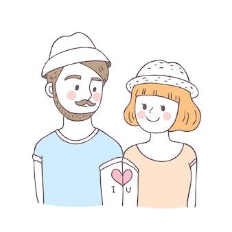 Karikatur-nette valentinsgrußtagespaare und liebesvektor.