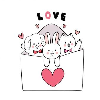 Karikatur nette valentinstagkatze und hund und kaninchen und großer liebesbriefvektor.