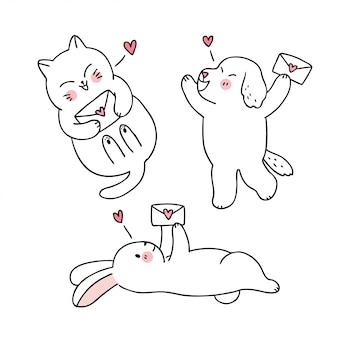 Karikatur nette valentinstagkatze und hund und kaninchen- und liebesbriefvektor.