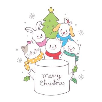 Karikatur-nette weihnachtstiere und baumvektor.