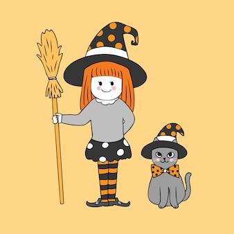 Karikatur netter halloween-hexenmädchen- und -katzenvektor.