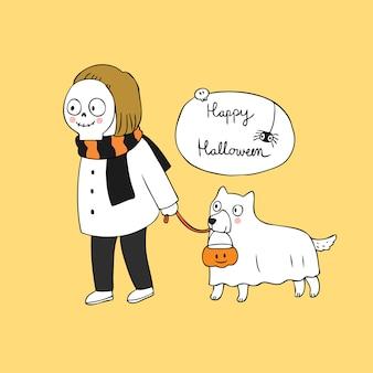 Karikatur-netter halloween-schädel- und -geisthundvektor.