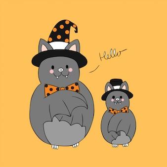 Karikatur-netter halloween-schlägervektor.