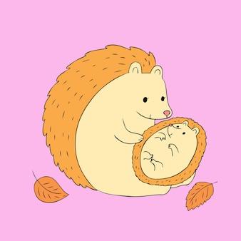 Karikatur-netter herbstmutter- und -baby-hedgehogvektor.