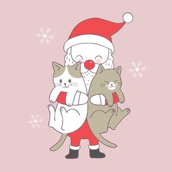 Karikatur netter Weihnachts-Santa Claus und Katzenvektor.