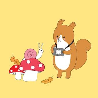 Karikatur nettes herbsteichhörnchen machen einen fotoschneckenvektor.