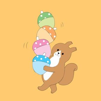 Karikatur nettes herbsteichhörnchen und bunter eichelvektor.