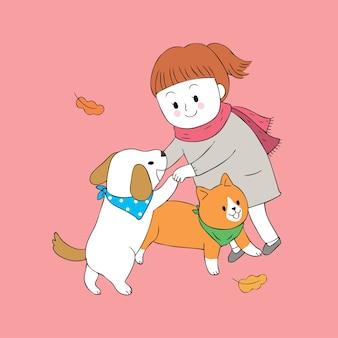 Karikatur nettes herbstmädchen und hund und katze, die vektor spielen.