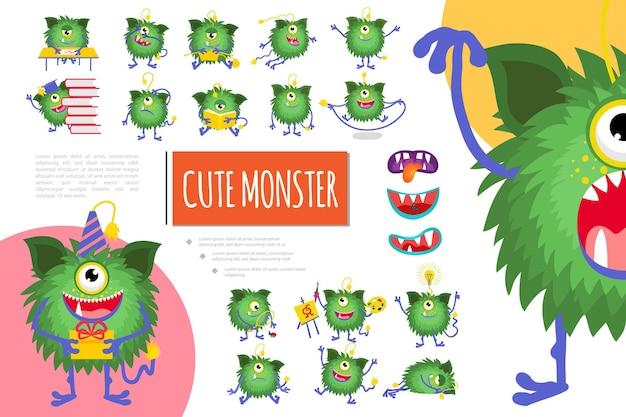 Karikatur niedliche grüne monsterkomposition mit freudiger flauschiger kreatur, die verschiedene emotionen in verschiedenen situationen illustration zeigt