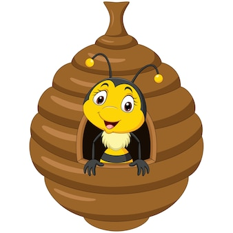 Karikatur niedliche kleine biene im bienenstock